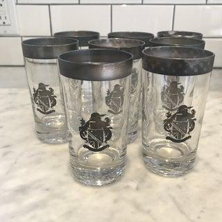 Vintage Cocktail Glasses Silver Crest Set of 8 Preview
