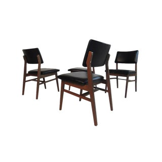 Jens Risom Series 7611 Walnut Dining Chairs For Sale