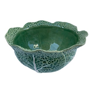 Vintage Modern Majolica Green Cabbage Leaf Bowl Bordallo Pinheiro For Sale