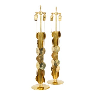 Pair of Custom Brass Lamps With Circular Brass Discs For Sale