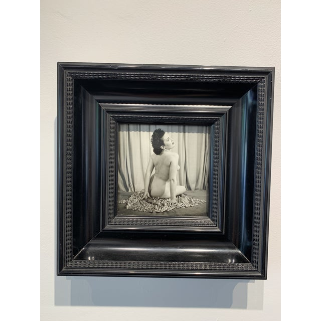 Fabulous wooden Dutch Moulding Framed Nude photo. 1/100. Mid-century men's camera club image.