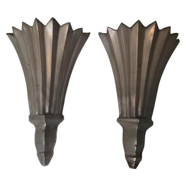 Cast Aluminum Faux Sconces - A Pair - Image 1 of 3
