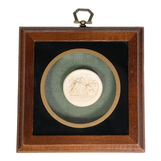 1940's English Grand Tour Neoclassical Romanesque Intaglios on Green Burlap Framed in Walnut For Sale