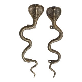 Large Brass Cobra Door Handles - a Pair For Sale