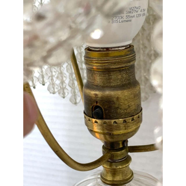 Metal Austrian Art Deco Crystal & Bronze Boudoir Lamp, With Sphinx Feet For Sale - Image 7 of 10