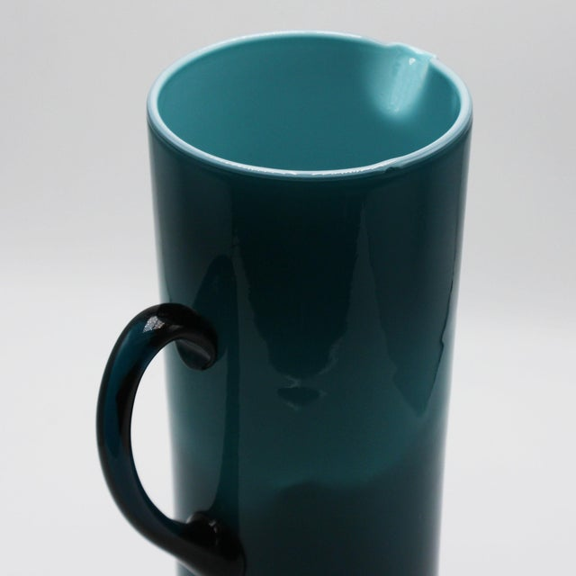 Mid-Century Modern Moretti Empoli Teal Cased Glass Pitcher, C. 1960 For Sale - Image 3 of 6