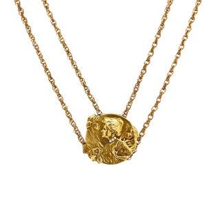 14k Gold Art Nouveau Slide Necklace on g.f. Slide Chain For Sale