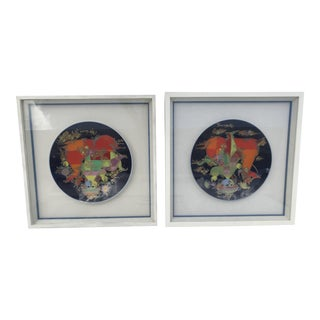 Pair Bjorn Wiinblad Framed Charger Plates - a Pair