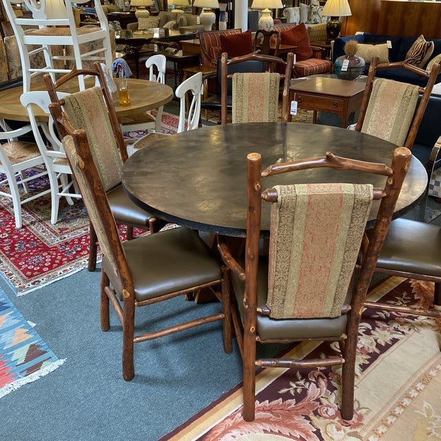 2000 - 2009 Custom Round Cement + Teak Dining Table + Six Hickory Wood Chairs- a Set For Sale - Image 5 of 13