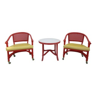 1950s Ficks Reed Rattan Table and Chairs - Set of 3 For Sale