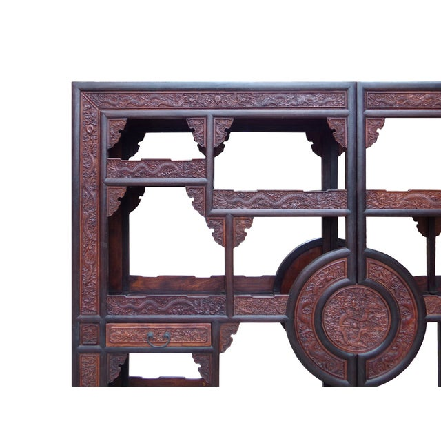 Chinese Rosewood Display Curio Cabinets - A Pair For Sale - Image 5 of 10