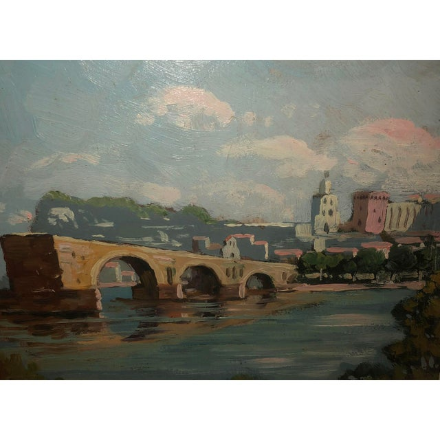 Antique French Painting of the Avignon Bridge For Sale - Image 4 of 7