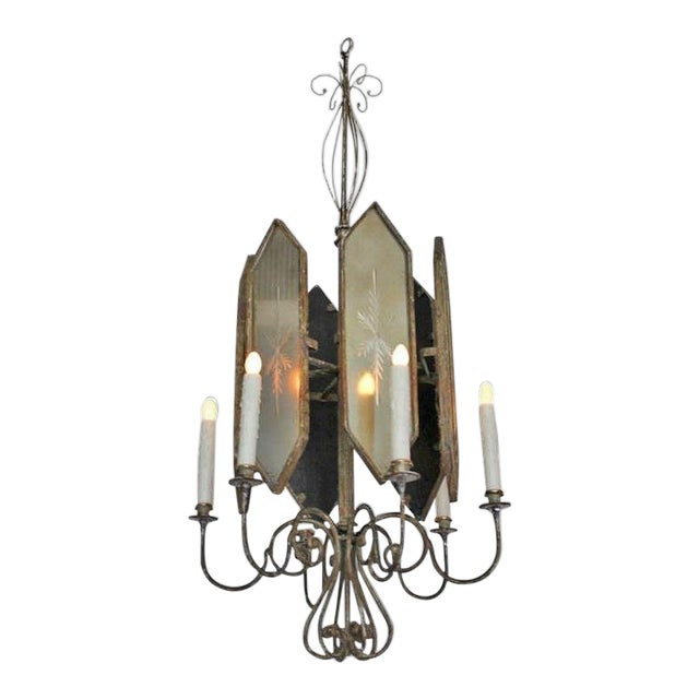 Unusual Hollywood Regency Style Italian Iron and Mirror Lantern Chandelier For Sale