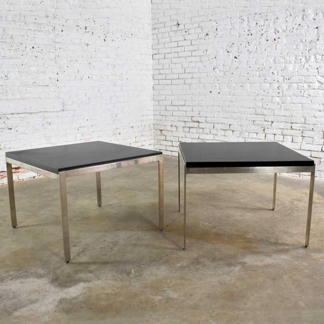 Pair Vintage Large Modern Square End Tables in Stainless Steel With Black Laminate Tops For Sale - Image 13 of 13