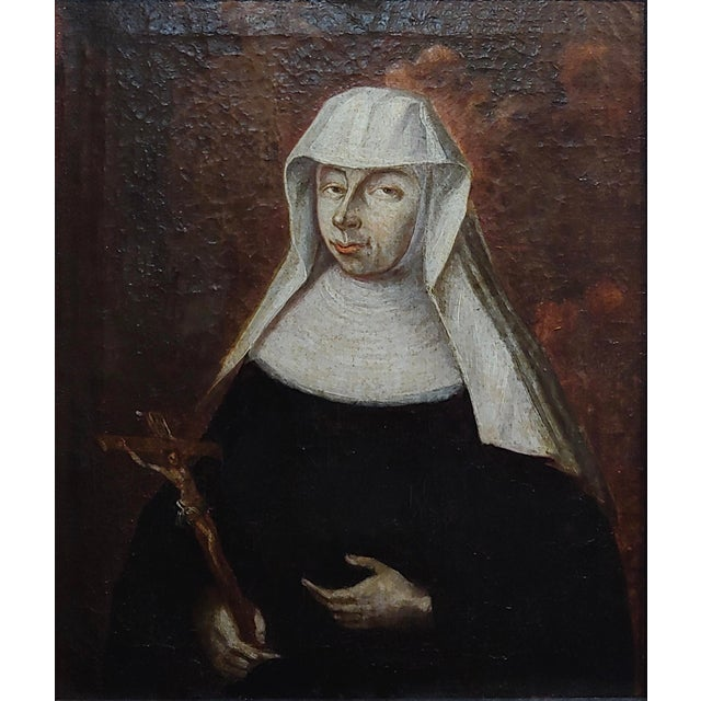 Italian 17th Century Italian Old Master -Portrait of a Nun - Oil Painting For Sale - Image 3 of 8