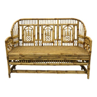 Vintage Chinese Chippendale Bamboo & Cane Settee For Sale