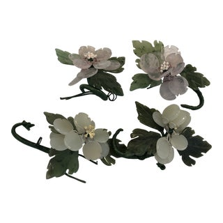 Jade Flowers Wall Hooks - Set of 4 For Sale