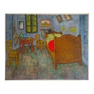 "Vintage 1937 Rare Van Gogh Original Lithograph Print ""Artists Bedroom at Arles"" 1888 For Sale"