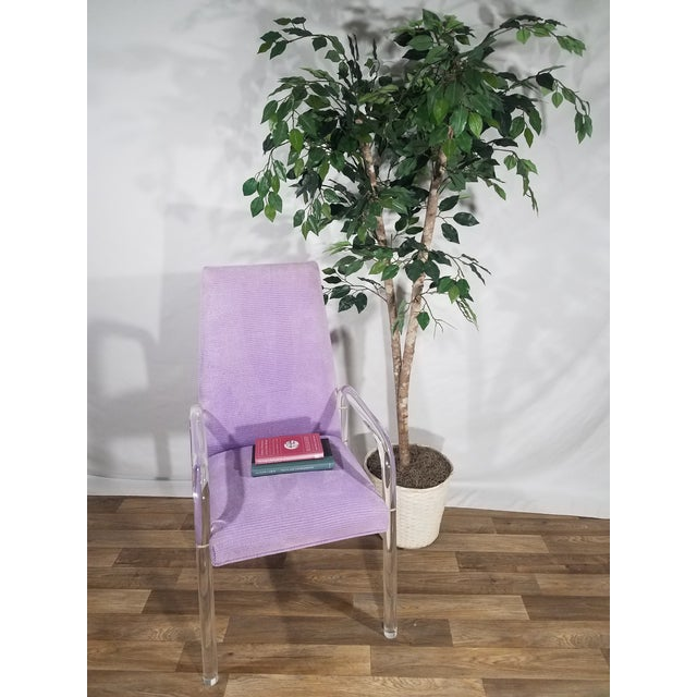Vintage Mid Century Tri-Mark Tulip Purple and Lucite High Back Chairs- Set of 4 For Sale - Image 12 of 13