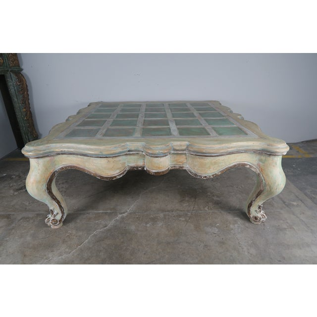 Art Nouveau Monumental Square Scalloped French Painted Coffee Table For Sale - Image 3 of 11