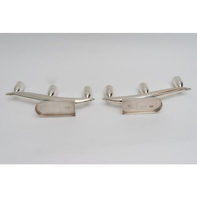 Silver Art Deco Moderne Sterling Silver Candlesticks For Sale - Image 8 of 12