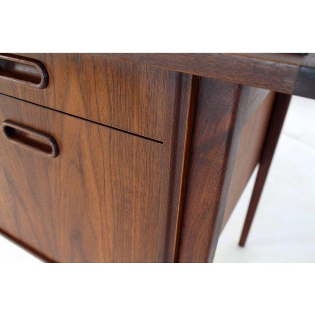 Brown Medium Small Danish Mid-Century Modern Oiled Walnut Desk With Slate Top For Sale - Image 8 of 11