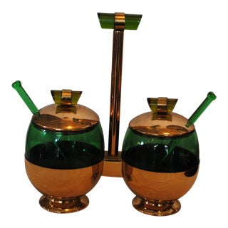 1940s Art Deco Emerald Glo Green Condiment Set For Sale