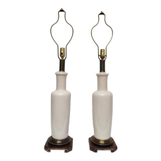 1960s Mid Century Paul Hanson Ecru Ceramic Lamps - a Pair For Sale