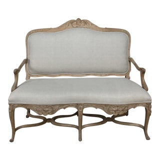 19th Century French Louis XV Rococo Fruitwood Sofa For Sale