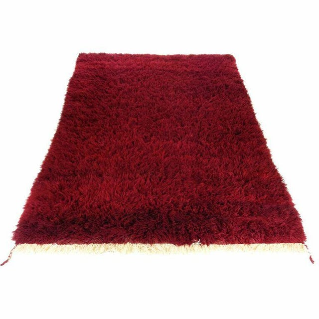 Vintage Maroon Turkish Tulu Shag - 5'5'' x 7'8'' - Image 1 of 4