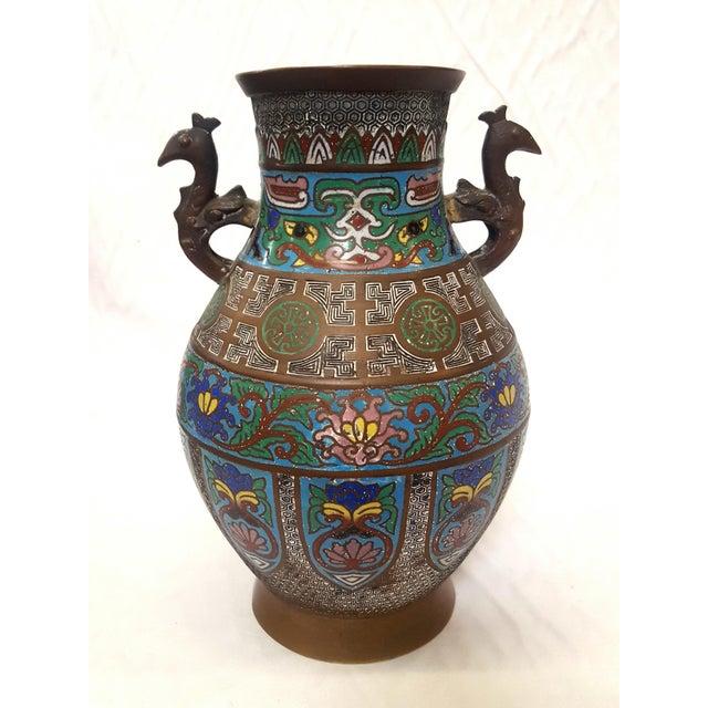Japanese Antique Enamel-Over-Bronze Champleve Vase Peacock Handled Geometric Design Year Made: Early 1900's Origin: Japan...