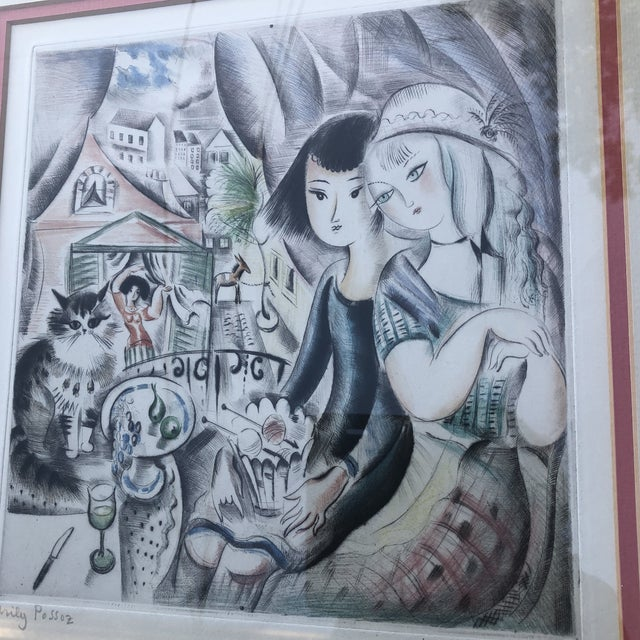1930s 1930's Deco Miley Possez Original Colored Etching Framed For Sale - Image 5 of 6