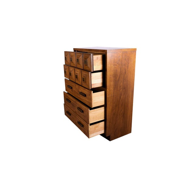 Mid Century Lane Furniture Five Drawer Tall Highboy Dresser For Sale In Baltimore - Image 6 of 11