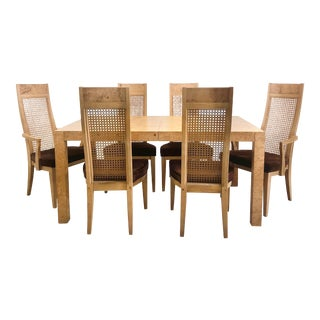Hollywood Regency Lane Burl Wood Dining Table & 6 Dining Chairs - 9 Pieces For Sale