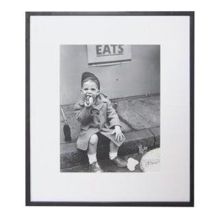"Nat Fein ""Boy Eating a Hot Dog"" Silver Gelatin Photograph For Sale"