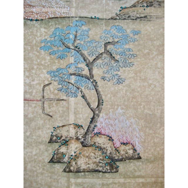 19th Century Chinese Hand Painted Wallpaper Panel, Framed For Sale - Image 12 of 13