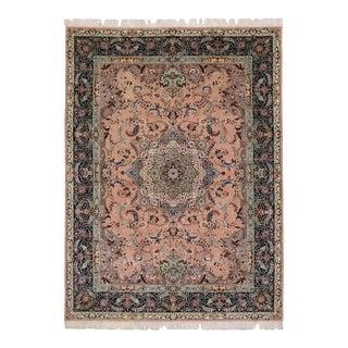 Vintage Pink Persian Tabriz Rug with Arabesque Art Nouveau Style For Sale