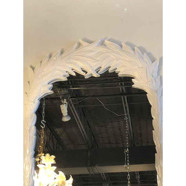 White Vintage Hollywood Regency White Lacquered Leaf Wall Mirror For Sale - Image 8 of 11