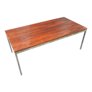 Florence Knoll Rosewood and Stainless Coffee Table For Sale