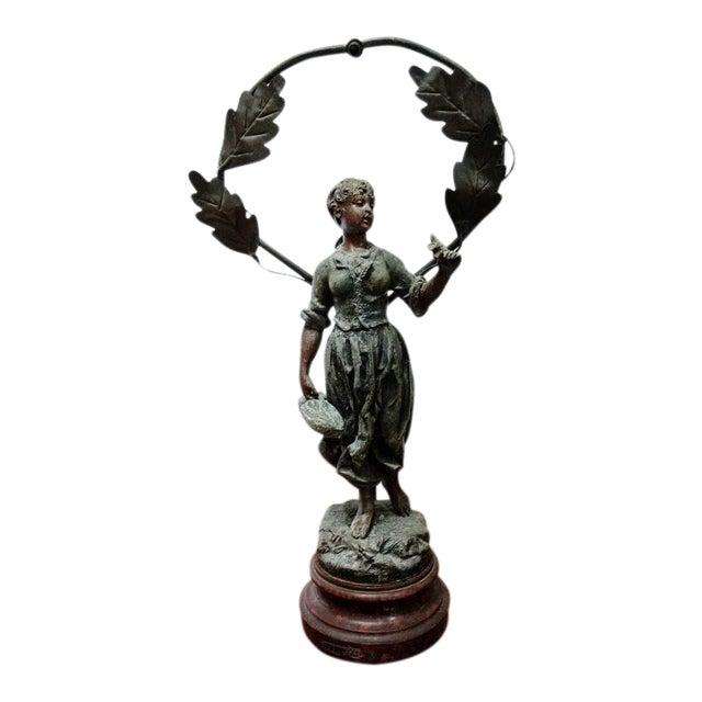 1890-1920 Art Nouveau Metal Faneuse Peasant Girl Sculpture For Sale