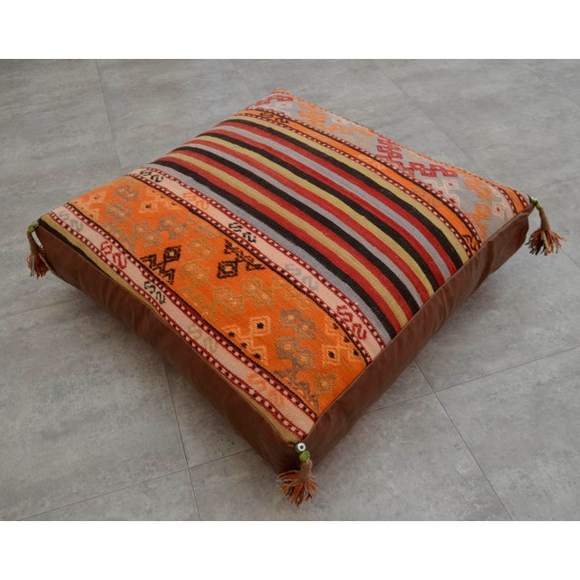 Turkish Hand Woven Floor Cushion Cover - 30″ X 30″ - Image 3 of 11