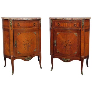 Pair of Marble-Top Regency Style End Tables
