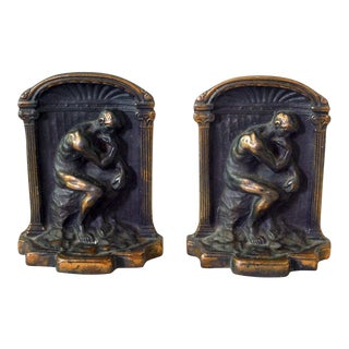 1920s Vintage Cast Iron Rodin's Thinker Bookends - a Pair For Sale