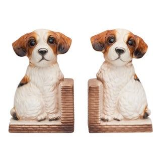 C. 1950s Japanese Porcelain Puppy Bookends For Sale