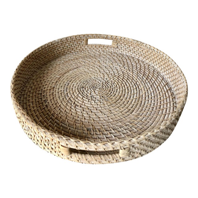 "Artifacts Rattan 18""Round Tray For Sale"