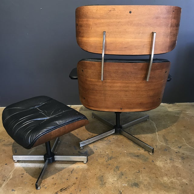 Mid-Century Eames Style Lounge Chair & Ottoman - Image 4 of 9