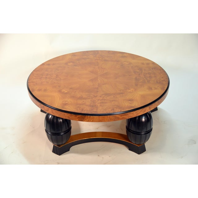 Large Swedish Art Deco Coffee Table in Carpathian Elm and Ebonized Birch For Sale - Image 4 of 8