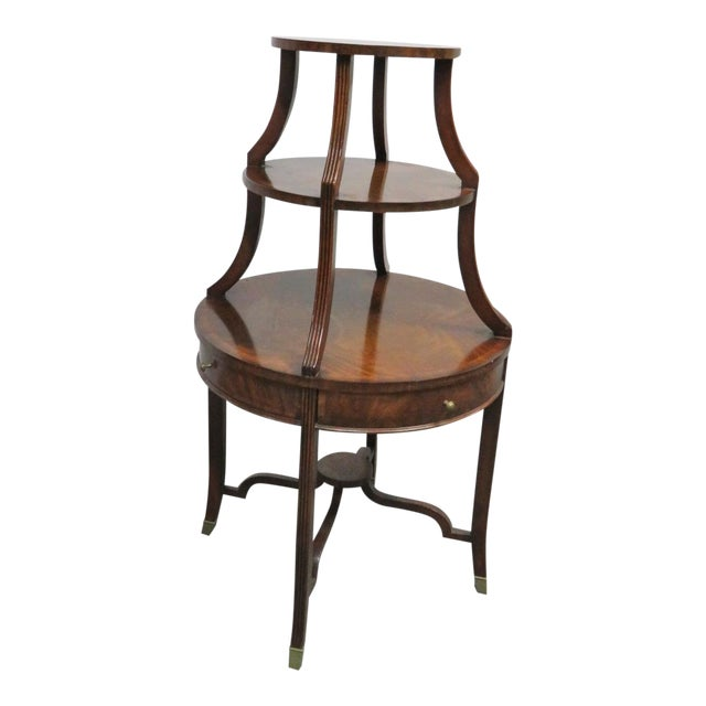 Maitland Smith Mahogany Dumbwaiter Serving Table For Sale