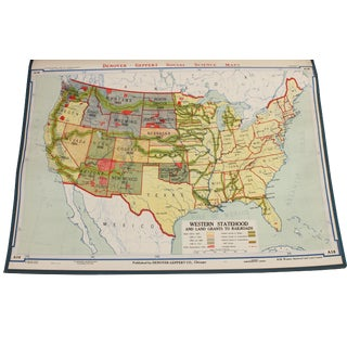 "Vintage Schoolhouse ""Western Statehood & Land Grants"" Map"