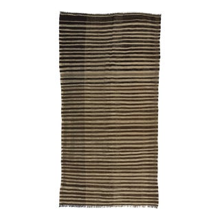 Vintage Turkish Brown & Ivory Striped Natural Kilim Rug For Sale